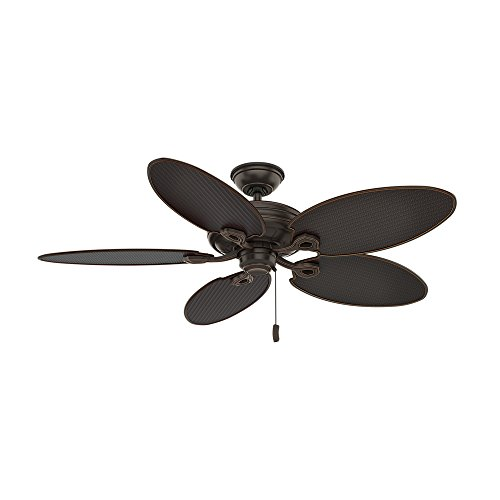Casablanca Indoor / Outdoor Ceiling Fan, with pull chain control - Charthouse 54 inch, Onyx Bengal, 55073,Large