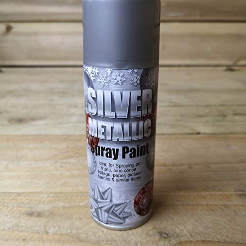 Samuel ALEXANDER Silver Metallic 250ML Aerosol Spray For Trees, Pine cones, Foliage, paper, picture frames