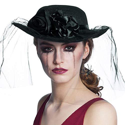 Boland-30820 negro Widow, Sombrero de Araa con Velo, color, Talla nica (Ciao Srl 30820)
