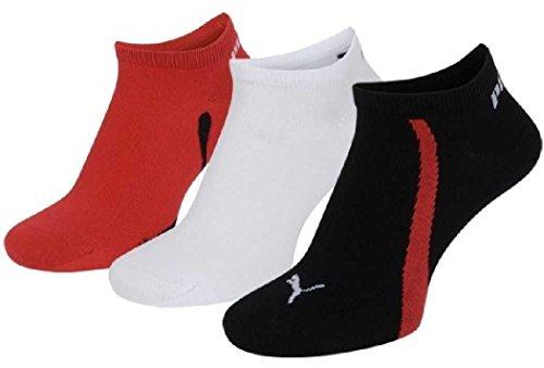 PUMA 6 Paar Sneaker Socken Gr. 35-46 Unisex für Damen Herren Füßlinge, Farbe:852 - black/white/red, Bekleidungsgröße:L