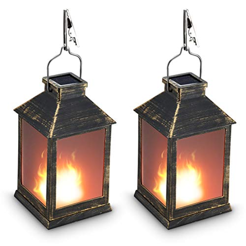 "10"" Vintage Style Solar Powered Lantern Fame Effect(Metallic Coating,Plastic),Solar Garden Light with Vivid Fire Effect,Outdoor Solar Hanging Lantern,Decorative Lanterns ZKEE (Set of 2)"