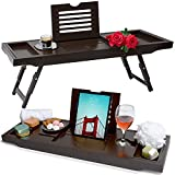 Bathtub Caddy Tray & Laptop Bed Desk – Original Patented 2 In 1 Innovative Design Transforms Our 100% Extra Large Bamboo Bathtub Caddy To Bed Tray – For The Ultimate Pampering Experience(Espresso)