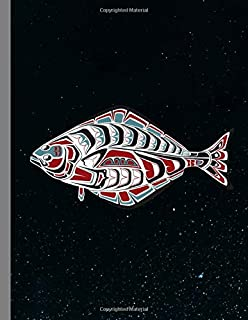 Tribal Halibut Fish: PNW Native American Indian Formline Totem, Haida Tribe Style Fisherman Art, Wide Ruled Lined Notebook - 120 Pages 8.5x11 Composition Journal