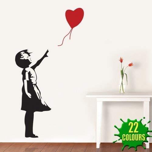 Banksy - Adhesivo Decorativo para Pared, diseño de corazón con Texto Girl Balloon, Negro, Large