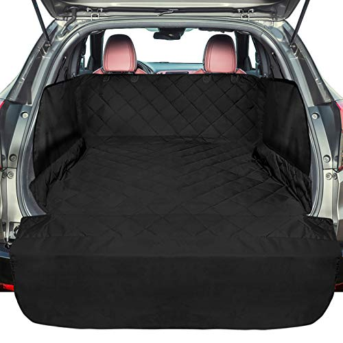 F-color SUV Cargo Liner for Dogs, Waterproof Pet Cargo Cover with Side Flap Protector Dog Seat Cover Mat for SUVs Sedans Vans with Bumper Flap, Non-Slip, Large Size Universal Fit, Black