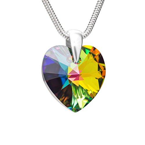 LillyMarie Halsketting voor dames, 925 zilver, met Swarovski Elements, hartje, meerkleurig, in lengte verstelbaar, in geschenkdoos, mooi cadeau voor vrouwen