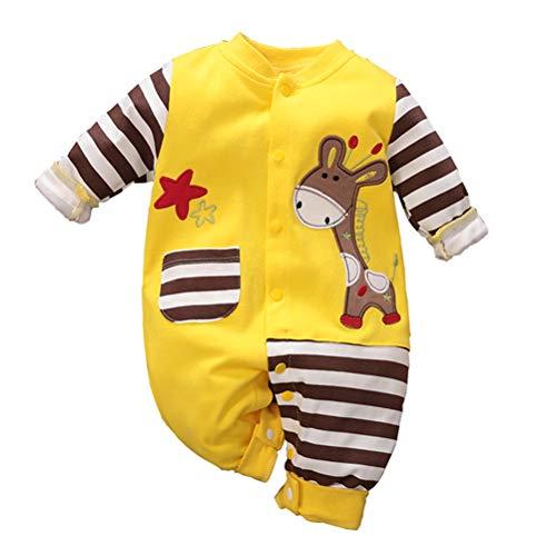 Baby Jungen Mädchen Strampler Giraffe Musterdruck Design Baby Süß Langarm Pyjamas Säugling Outfit Overall Schlafanzug Babykleidung