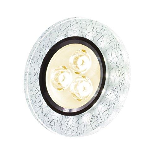 SpiceLED Einbaupanel   CrushLED   6W warmweiß Effektlicht kaltweiß   Runde LED Einbauleuchte   Fullbody-Glas Bruchdesign   dimmbar
