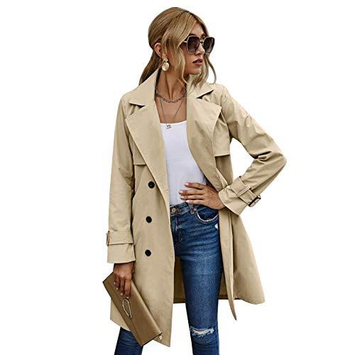 Chaqueta de gabardina para mujer, gabardina con cinturón para adulto, solapa de manga larga con doble botonadura, caqui, L