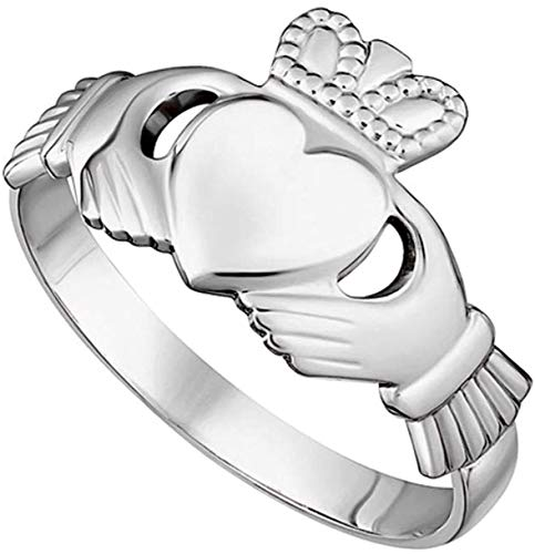Womens Claddagh'Maids' Ring Made in Ireland Classic Sterling Silver Traditional Claddagh Design Fine Details Made in Co. Dublin by Maker-Partner Solvar Size 6