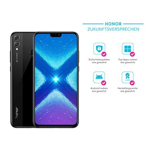 Honor 8X 128GB Smartphone BUNDLE (16,5 cm (6,5 Zoll) FHD+ Display, Dual-Kamera, Dual-SIM, Fingerabdrucksensor, Android 8.1) mit gratis PU Flip Protective Cover(blau), Schwarz