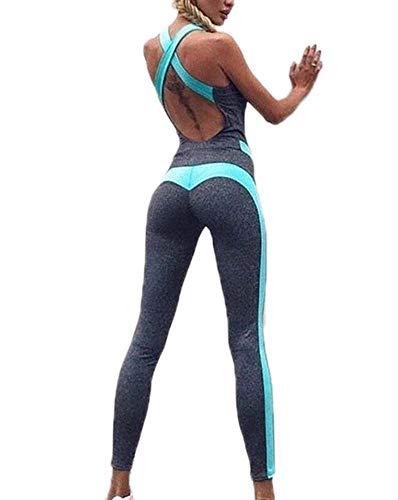 Domorebest Mujeres Yoga Correr Fitness Leggings Pantalones de Entrenamiento elástico Alto Mono Sport Romper Playsuit