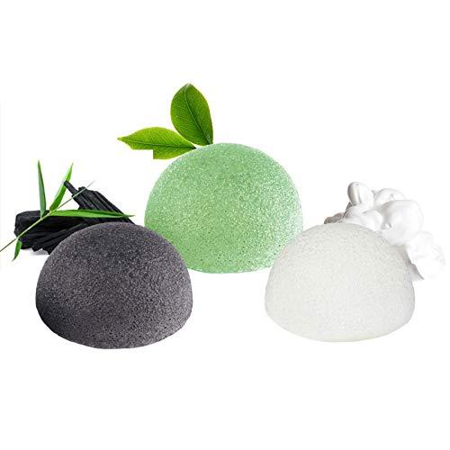 Esponja Konjac Facial (3 Piezas), Konjac Esponge Set para Limpieza y Exfoliacion Profunda de Poros, 100% Naturales Carbon de Bambu/Te Verde/Esponja Blanca, Esponjas Faciales para Todo Tipo de Piel
