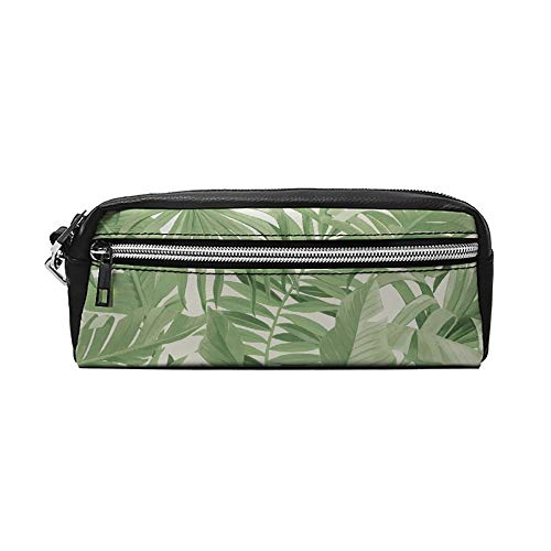 Lucie Annabel Palma Tropisch Behang Groen PU Lederen Potlood Case Make-up Bag Cosmetische Tas Potlood Pouch met Rits Reizen Toilettas voor Vrouwen Meisjes