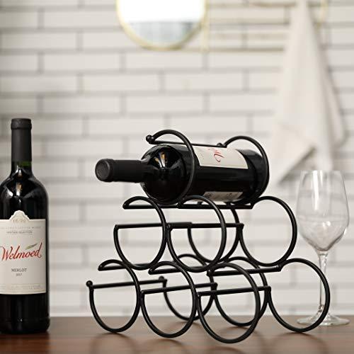 JHY DESIGN Botellero de Metal para Vino Vertical 30cm Estante de Hierro Rústico botelleros de almacenamiento pie soporte botellas 10 cm diseño moderno para decoración de la mesa del hogar(Negr