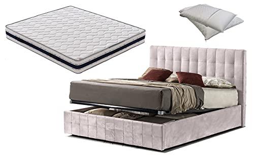 Cama de matrimonio con caja de terciopelo rosa envejecido rosa + colchón de matrimonio de 21 cm + par de almohadas de memoria de regalo