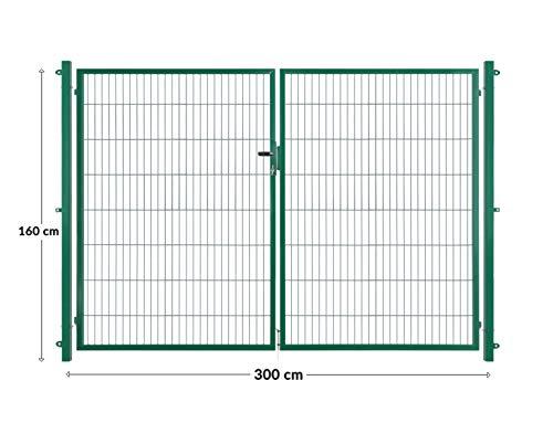 Arvotec dubbele deur/dubbel vleugeldeur, groen, 200x50, BxH: 2x1500x1600mm - volledig klaar voor montage met paal & bevestigingsmateriaal - met bijpassende aansluitstukken voor staafmattenhek