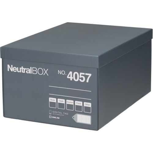 キングジム 収納ボックス 収納箱 ニュートラルボックス L グレー 4057クレ