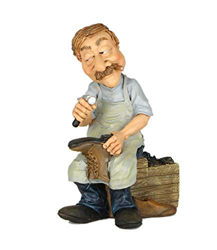 Les Alpes Figura de la profesión Zapatero, 13,5 cm - estatua pintada a mano con mucho cariño sobre resina, muchos detalles - Figurilla Colección de estatuas Funny World Professions Artisanos