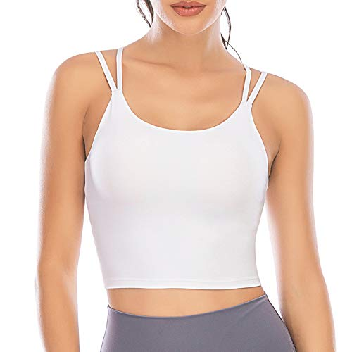 YEYELE Sports Bras for Women Longline Padded Yoga Camisole Crop Tank Top with Built-in Sports Bra - White - L