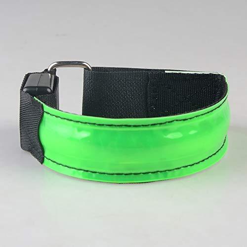 KAILUN LED Brazalete De Flash Pulsera Luminosa En El Pie Carga USB Carrera Nocturna Fluorescente Luz De Advertencia De Seguridad Siete Colores,Green