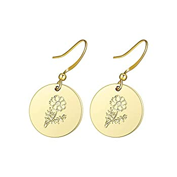 Birth Flower Pendant Earring 18K Plated Minimalist Dainty Dangle Earrings Personalized Coin Drop Statement Birth Floral Earrings Birthday Gift Jewelry  J Oct.-Cosmos