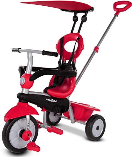 smarTrike Zoom Toddler Tricycle for 1,2,3 Year Olds - 4 in 1 Multi-Stage Trike, Red