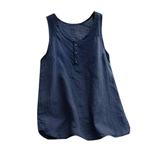 Goosuny Leinen Top Damen Sommer T-Shirt Ärmellose Bluse Lässig Tank Top Weste Einfarbig Ohne Arm Blusenshirt Lose Basic Shirts Lockerer Oberteil