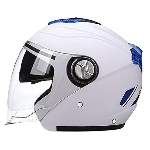 Sharplace Cascos de Moto Abatibles Casco de Cara Abierta de Doble Visera para Un Adulto Unisex - Blanco