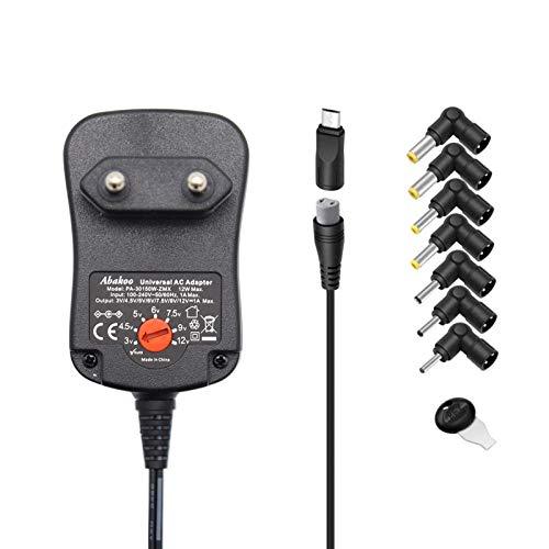 Abakoo 3-12V Universal Netzteil für 3V 4.5V 5V 6V 7.5V 9V 12V 1A Ladegerät für USB MP3-Players Radios Tablets Elektronik Geräte - max 12W / 1000mA, mit 8 Stecker DC