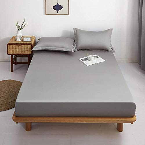 OQQE 1 sábana Ajustable 100% sábanas de algodón Puro, Funda de colchón de Color sólido con Ropa de Cama elástica de Color Blanco para Cama Doble