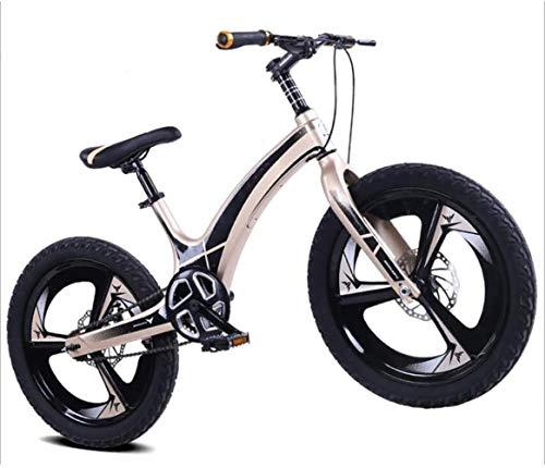 Schmutziger Korb Mountainbike Kinder Mountainbike-Magnesium-Legierung Sitz eingestellt und Off-Scheibenbremse Single Speed (Color : Gold)