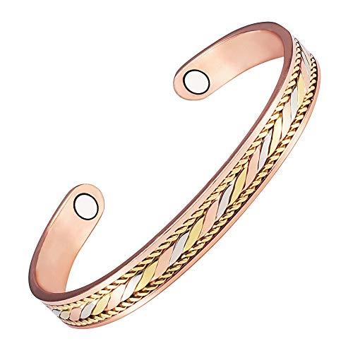 YINOX Pulsera magnética de cobre puro para artritis para mujeres y hombres con 2 imanes trenzados...