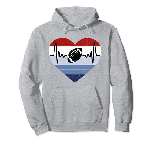 I Love Football Rojo Blanco Y Azul Vintage Corazón & Heartbeat Sudadera con Capucha