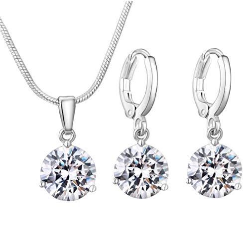 3Pcs Women Silver Jewellery Set Zircon Diamond Waterdrop Necklace with Earrings Modeling Accessories
