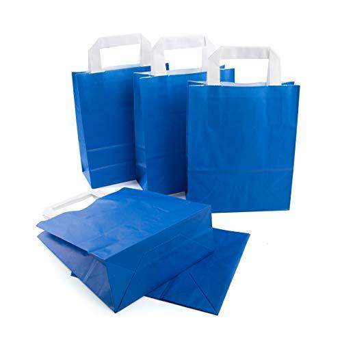 25 Stück kleine ROYAL blaue Geschenktasche Henkel Papiertüte 18 x 8 x 22 Trage-Griff Papier Tragetaschen Geschenkbeutel Tüte Geschenktaschen Geschenk Verpackung Säckchen Papierbeutel