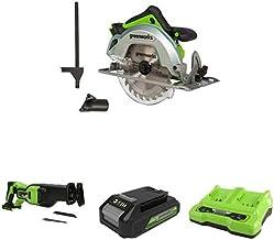 Greenworks Tools 1500907 Sierra Circular, 24 V + Batería sierra de sable GD24RS, 24V Li-Ion control de velocidad + Batería G24B2 2ª generación + Batería de doble ranura Cargador universal G24X2C