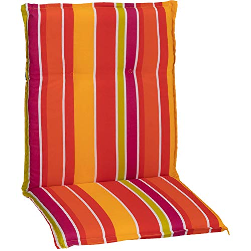 Beo Gartenstuhlauflage Sitzkissen Polster Stuhlkissen für Niederlehner Streifen hellgrün orange gelb violett