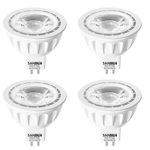 5W LED MR16 Light Bulbs, 12v 50w Halogen Replacement, GU5.3 Bi-Pin Base, Soft White 3000K, Non-Dimmable, (Pack of 4)