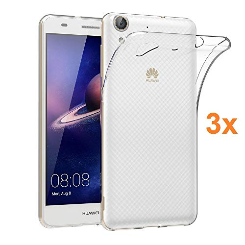 REY Pack 3X Cover in Gel TPU Trasparente per Huawei Y6 (2016), Ultra Sottile 0,33 mm, Morbido Flessibile, Custodia Silicone
