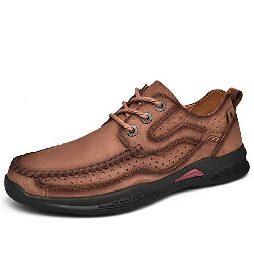 Zapatos de hombre de cuero, casual, vestido formal Zapatos para caminar para hombres, grifo de cuero perforado ligero Zapatos al aire libre, zapatos de punta redonda de color sólido suaves y transpira
