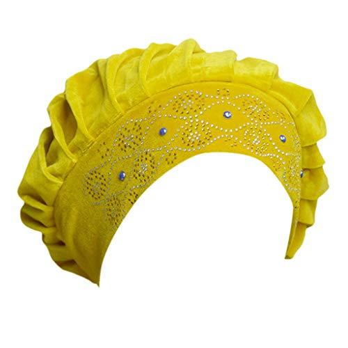 DOLDOA Hut Damen Sommer,Frauen-Ineinander greifen-Langer Schlauch-Turban-Kappen-moslemischer Inder-Verpackungs-Kopf-Hut (Gelb)