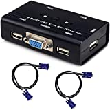 TCNEWCL KVM Switch, USB e VGA Commutatore con 2 Cavi KVM, per PC Monitor Tastiera Mouse Scanner Stampante