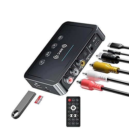 Transmisor Bluetooth 5.0 Receptor 3 en 1 Adaptador Bluetooth 3.5 mm AUX RCA USB óptico para música de audio estéreo de alta fidelidad inalámbrica, Receptor de audio RCA AUX Jack Adaptador inalámbrico