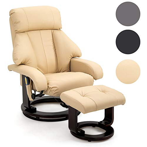 Mingone TV Massagesessel Relaxsesse Wärmefunktion Fernsehsessel l Sessel Ruhesessel Liegesessel Polstersessel Weinrot Kunstleder Relaxliege (Brige)