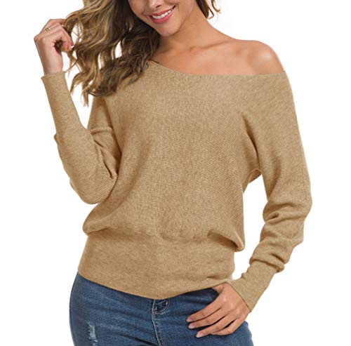 Feiersi Round Neck Long Sleeves Dolman Knitted Sweaters and Pullovers Tops for Women (Khaki,Small)