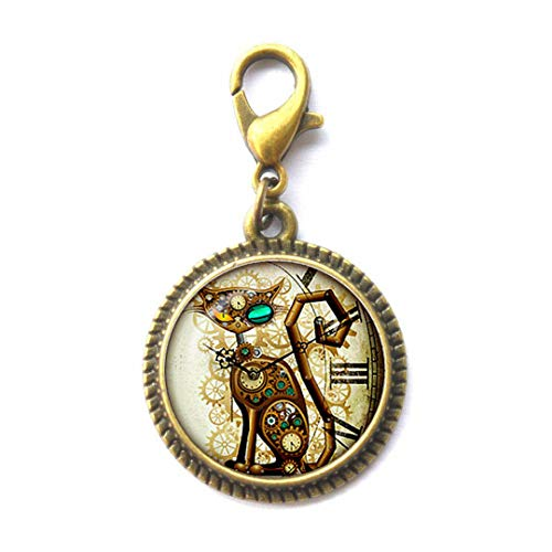 Steampunk Cat Zipper Pull. Steampunk Cat Zipper Pull. Steampunk Retro Jewelry. Birthday Gift, Gifts for Him, Gifts for Her