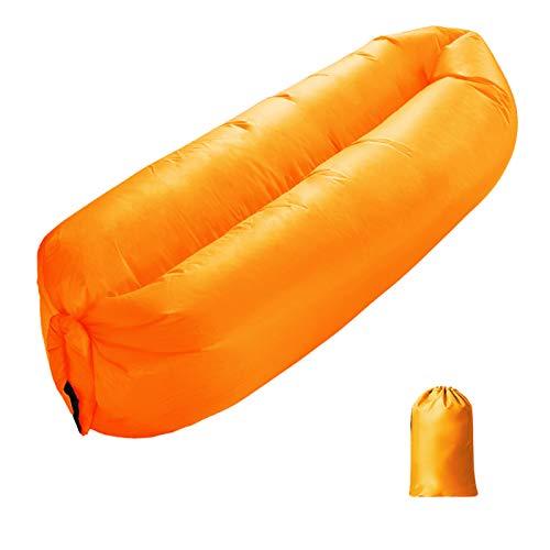 XUE-SHELF Aufblasbare Liege, bequem und stark, faule Couch, Luftbett, tragbares Sofa, langlebig, Reisen, Hang Out-Tasche, perfekt für Strand, Camping, Schlafen, orange