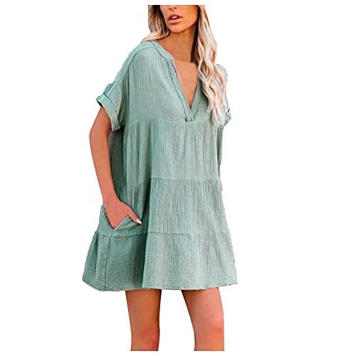 Vestido de lino para mujer, largo hasta la rodilla, elegante escote en V, vestido de playa, monocolor, vestido de fiesta, boho, largo hasta la rodilla, vestido de estilo rock, vestido de tiempo libre