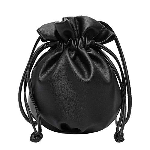 Aober Small Drawstring Bucket Bags Für Frauen Schulter Umhängetasche Weibliche Handtaschen und Geldbörsen Lady Solid Color Handtasche, Schwarz